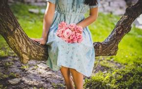 Wallpaper tree, girl, flowers, dress