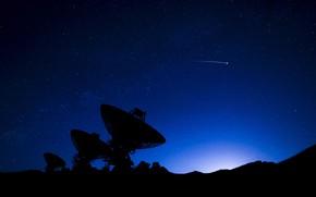 Picture the sky, night, silhouette, radio telescope