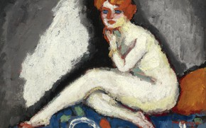 Picture oil, blue eyes, Seated Nude, redhead woman, Kees van Board., canvas., 1906-1907