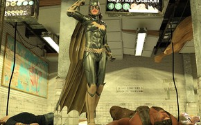 Picture woman, men, subway, the victim, Batgirl fights three thugs