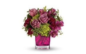 Wallpaper bouquet, roses, alstremeria, vase