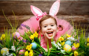 Picture holiday, eggs, Easter, girl, ears