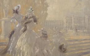 Picture ladies, Louis Icart, Autumn in Versailles