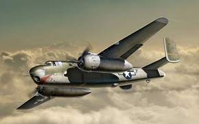Picture bomber, Art, North American, Mitchell, B-25G