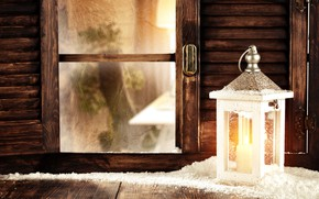 Picture snow, decoration, tree, New Year, window, Christmas, lantern, Christmas, snow, window, Merry Christmas, Xmas, decoration, …
