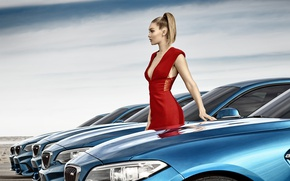 Picture machine, model, makeup, BMW, figure, dress, hairstyle, blonde, beauty, in red, photoshoot, in a row, …