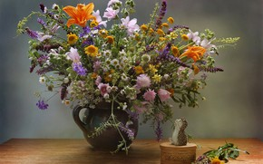 Picture table, chamomile, bouquet, box, vase, hedgehog, wildflowers