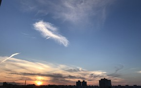 Picture the sky, clouds, landscape, sunset, the city, Russia