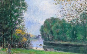 Picture landscape, picture, Alfred Sisley, Alfred Sisley, The Turn Of The River Loing. Summer