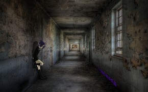 Picture girl, wall, anime, abandoned house, madskillz