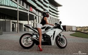 Wallpaper girl, shorts, Mike, motorcycle, shoes, helmet, biker, bike, Andrey Kramar, Natasha Komar