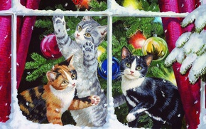 Wallpaper cats, tree, kittens, Persis Clayton Weirs, decoration, toys, window, snow, holiday, branch