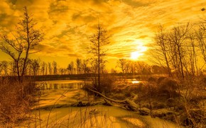 Wallpaper winter, river, sunset