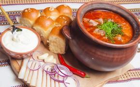 Picture bow, soup, sour cream, dumplings