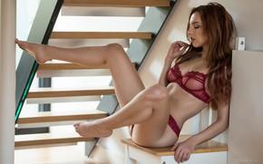 Wallpaper pose, feet, model, ladder, linen, lingerie, Sophia Blake, Jack Russell