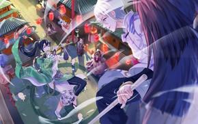 Picture the city, street, angel, anime, art, brawl, Onmyouji, shan-n