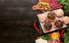 Picture greens, cheese, meat, vegetables, sauce, hamburger, Patty, sandwich, bun, sandwiches, hamburger, tomato, sandwich, ingredients