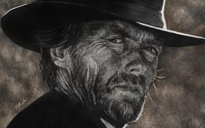Picture face, figure, hat, Clint Eastwood, Clint Eastwood