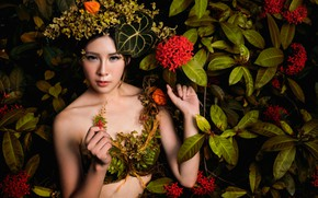 Picture leaves, girl, flowers, style, Asian, wreath