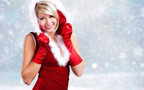 Picture winter, girl, smile, dress, New year, gloves, fur, beautiful