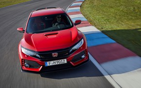 Picture asphalt, red, movement, lawn, speed, track, Honda, the curb, 2017, Civic Type R, 2l., 320 …