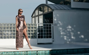 Picture the sun, sexy, pose, pool, figure, dress, glasses, hairstyle, shoes, singer, photoshoot, hip hop, performer, …