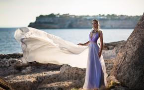 Picture sea, girl, rock, photo, the wind, model, train, dress, bokeh, Miki Macovei Come With, Anna …