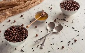 Picture food, Breakfast, honey, chocolate balls