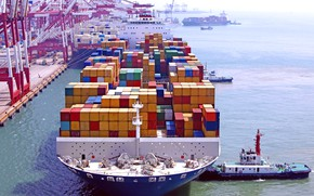 Picture Port, The ship, Cargo, A container ship, Terminal, Tugs, Container, Cargo, Tug, Container