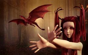 Wallpaper forest, eyes, look, girl, trees, flight, red, face, fog, rendering, fantasy, fiction, trunks, hair, dragon, ...