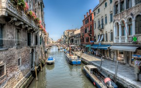Picture street, HDR, home, boats, Italy, Venice, channel, Italy, houses, Venice, boats, Marinas