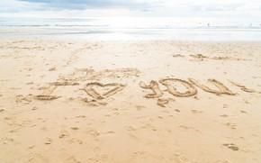 Picture sand, sea, beach, love, heart, love, beach, I love you, sea, heart, romantic, sand