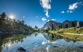 Wallpaper South Tyrol, Italy, South Tyrol, the sky, lake, Lago di Limides, The Dolomites, Italy, mountains, ...