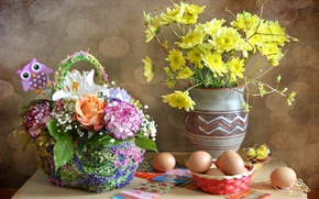 Picture flowers, eggs, bouquet, Easter, stickers