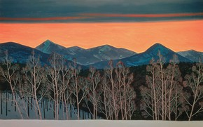 Picture forest, trees, landscape, mountains, nature, picture, Rockwell Kent, Rockwell Kent, Red Evening. Sunset. Asgard