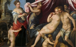 Picture erotic, oil, picture, mythology, Venus and Mars, Hans Rottenhammer
