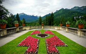 Picture forest, clouds, trees, flowers, mountains, nature, lawn, plants, Germany, Bayern, pots, the parapet, terrace, Linderhof