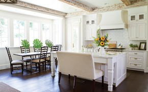 Picture interior, dining room, bright kitchen