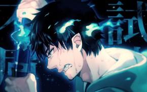 Picture anime, art, guy, Ao no Exorcist, Blue exorcist, poludemon, Okumura Rin