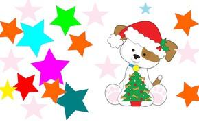 Picture holiday, art, stars, herringbone, dog, bone, children's, the year of the Dog
