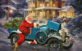 Picture snowman, retro, holiday, snow, winter, car, lights, the evening, house, Santa Claus, classic