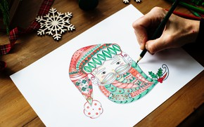 Wallpaper figure, new year, pencil, Santa Claus, snowflake, ribbon, new Year, pencil, Santa Claus, snowflake, ribbon, ...