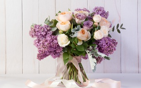Wallpaper bouquet, lilac, tape, roses