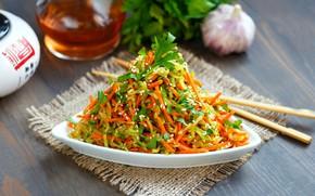 Picture greens, vegetables, carrots, sesame, salad