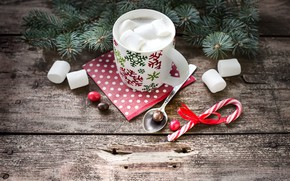 Picture decoration, tree, New Year, Christmas, Cup, happy, Christmas, winter, cup, chocolate, New Year, Merry Christmas, …