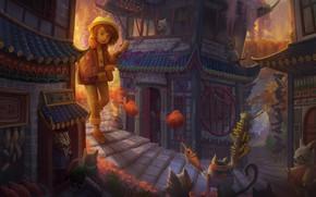Picture cat, cat, the city, house, anime, art, girl, children's, Yangtian Li, Cat Town, The cat …