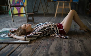 Wallpaper paint, shorts, creativity, brush, Anastasia Shcheglova