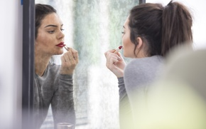 Picture reflection, model, mirror, brunette, lipstick, painted, Kendall Jenner
