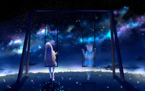 Picture girl, night, swing, by lluluchwan