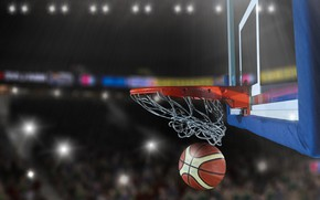 Wallpaper basket, basketball, bokeh, the game, the ball, lights